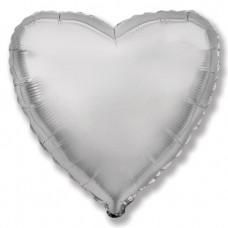 Шар (4''/10 см) Микро-сердце, Серебро, 1 шт.