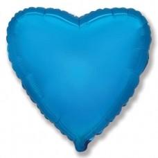 Шар (4''/10 см) Микро-сердце, Синий, 1 шт.