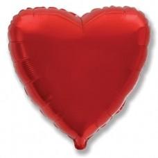 Шар (4''/10 см) Микро-сердце, Красный, 1 шт.