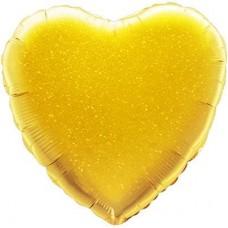 Шар с клапаном (10''/25 см) Мини-сердце, Золото, Голография, 1 шт.