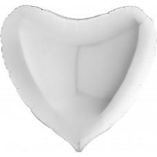Шар (9''/23 см) Мини-сердце, Белый, 1 шт.