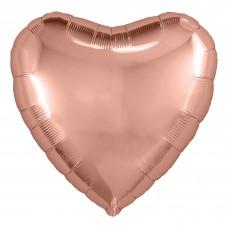 Набор шаров с клапаном (9''/23 см) Мини-сердце, Розовое Золото, 5 шт. в упак.