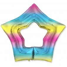 Шар (37''/94 см) Звезда, Контур, Диагональная радуга, Градиент, 1 шт.