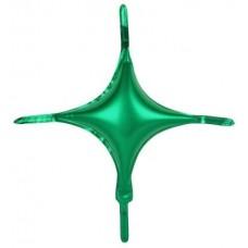 Шар (10''/25 см) Мини-звезда, С хвостиками, Зеленый, 1 шт.