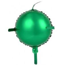 Шар (10''/25 см) Мини-круг, С хвостиками, Зеленый, 1 шт.