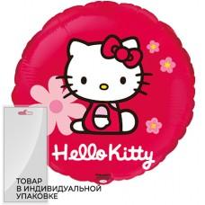 Шар (18''/46 см) Круг, Hello Kitty, Котенок в цветах, Красный, 1 шт. в упак.