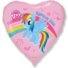 Шар (18''/46 см) Сердце, My Little Pony, Лошадка Радуга, Розовый, 1 шт.