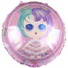 Шар (18''/46 см) Круг, Модная кукла (разноцветные локоны), Нежно-розовый, 1 шт.