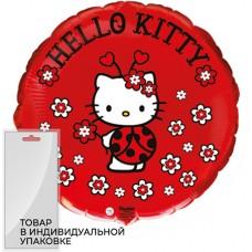 Шар (18''/46 см) Круг, Hello Kitty, Котенок, Божья коровка, Красный, 1 шт. в упак.