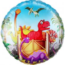Шар (18''/46 см) Круг, Динозаврики, 1 шт.