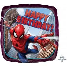 Шар (18''/46 см) Квадрат, Человек Паук, Happy Birthday, 1 шт. в упак.