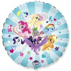 Шар (18''/46 см) Круг, My Little Pony, Дружные Лошадки, Голубой, 1 шт.