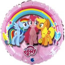 Шар (18''/46 см) Круг, My Little Pony, Дружные Лошадки, Розовый, 1 шт.
