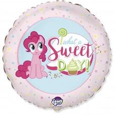 Шар (18''/46 см) Круг, My Little Pony, Лошадка Пинки Пай, Сладкий День!, Розовый, 1 шт.