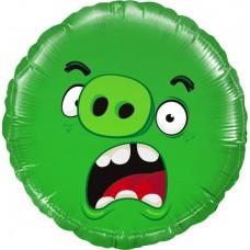 Шар (18''/46 см) Круг, Angry Birds, Зеленый, 1 шт.