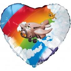 Шар (19''/48 см) Сердце, Самолет, 1 шт.