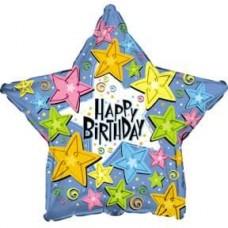 Шар (18''/46 см) Звезда, С Днем Рождения (звезды), Голубой, 1 шт.