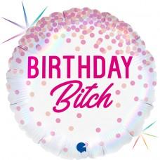 Шар (18''/46 см) Круг, Каскад конфетти, Birthday B*tch, Розовый, Голография, 1 шт.