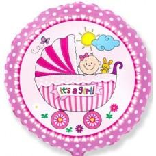 Шар (18''/46 см) Круг, Детская коляска для девочки, Розовый, 1 шт.