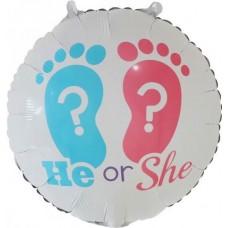 Шар (18''/46 см) Круг, Гендер Пати, Ножки малыша, Голубой/Розовый, 1 шт.