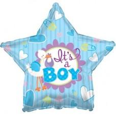 Шар (18''/46 см) Звезда, Аист принес мальчика, Голубой, 1 шт.