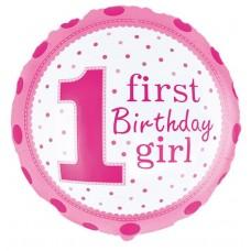 Шар (18''/46 см) Круг, 1-й День Рождения Девочки (точки), Розовый, 1 шт.