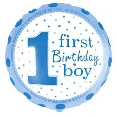 Шар (18''/46 см) Круг, 1-й День Рождения Мальчика (точки), Голубой, 1 шт.