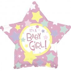 Шар (18''/46 см) Звезда, С Рождением Девочки, Розовый, 1 шт.