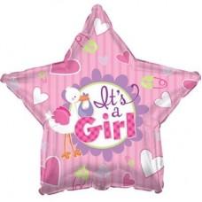 Шар (18''/46 см) Звезда, Аист принес девочку, Розовый, 1 шт.