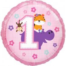 Шар (18''/46 см) Круг, Первый День Рождения (для девочки), Розовый, 1 шт.