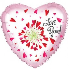 Шар (24''/61 см) Сердце, Я Люблю Тебя! (фейерверк сердец), Розовый, 1 шт.
