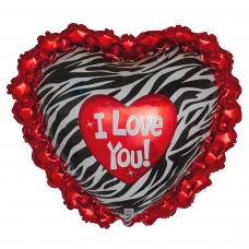 Шар (31''/79 см) Сердце, Любовь (окрас зебры) в ажурном ореоле, 1 шт.