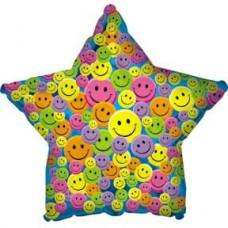 Шар (31''/79 см) Звезда, Разноцветные улыбки, Синий, 1 шт.