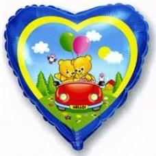 Шар (18''/46 см) Сердце, Влюбленные мишки в машине, Синий, 1 шт.