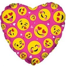 Шар (18''/46 см) Сердце, Влюбленные смайлы, Розовый, 1 шт.