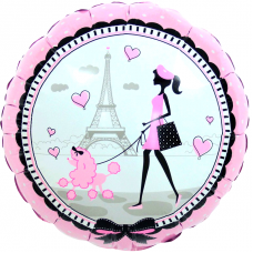 Шар (18''/46 см) Круг, Парижанка, Розовый, 1 шт.