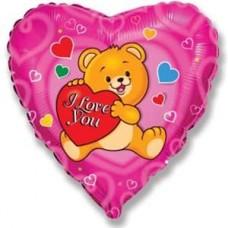 Шар (18''/46 см) Сердце, Влюбленный счастливый медведь, Фуше, 1 шт.