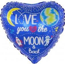 Шар (18''/46 см) Сердце, Лунная любовь, Синий, 1 шт.
