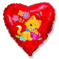 Шар (18''/46 см) Сердце, Котенок с сердечком, Красный, 1 шт.