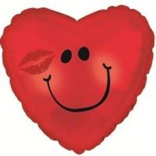 Шар (18''/46 см) Сердце, Смайл с поцелуем, Красный, 1 шт.