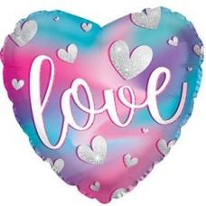 Шар (18''/46 см) Сердце, Love (парящие сердца), Градиент, 1 шт.
