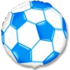 Шар (9''/23 см) Мини-круг, Футбольный мяч, Синий, 1 шт.