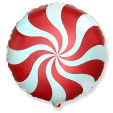 Шар (9''/23 см) Мини-круг, Леденец, Красный, 1 шт.