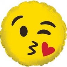 Шар (9''/23 см) Мини-круг, Смайл Эмоции (С поцелуем), Желтый, 1 шт.