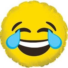 Шар (9''/23 см) Мини-круг, Смайл Эмоции (Слезы радости), Желтый, 1 шт.