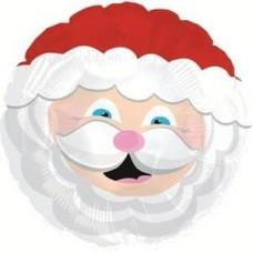 Шар (9''/23 см) Мини-круг, Голова Деда Мороза, Красный, 1 шт.