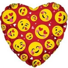 Шар (9''/23 см) Мини-сердце, Влюбленные смайлы, Красный, 1 шт.