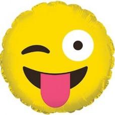 Шар (9''/23 см) Мини-круг, Смайл Эмоции (Озорной), Желтый, 1 шт.