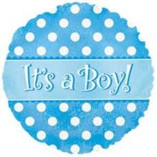 Шар (9''/23 см) Мини-круг, С Рождением Мальчика! (точки), Голубой, 1 шт.