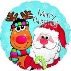 Шар (9''/23 см) Мини-круг, Дед Мороз и олень, Голубой, 1 шт.